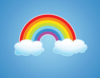 vector rainbow and clouds in the sky vector illustration