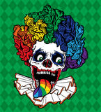 Vector Rainbow Clown Skull. With fluffy collar, rainbow tongue, and curly rainbow wig. Argyle green background Vector Illustration