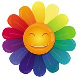 Vector rainbow flower. With multi colored petals and funny face Royalty Free Stock Image