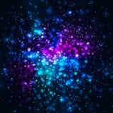 Vector rainbow glowing light glitter background. Galaxy magic lights background Stock Photography