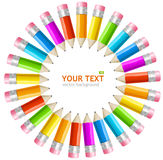 Vector rainbow pencils frame Royalty Free Stock Photos