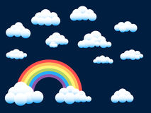 Rainbow and assorted clouds. Vector rainbow and a selection of assorted fluffy clouds vector illustration