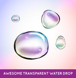 Vector Rainbow Soap Water Bubbles Set. Transparent Isolated Real Stock Photo