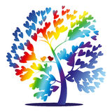 Vector rainbow tree. With birds and heart shaped leaves royalty free illustration