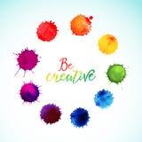 Vector rainbow watercolor blobs. Circle frame of