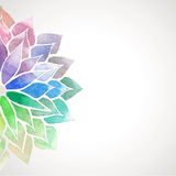 Vector rainbow watercolor painted flower on white background. Card with rainbow watercolor painted flower. Vector decorative illustration for design of banners Stock Image
