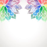Vector rainbow watercolor painted flowers on white background. Card with rainbow watercolor painted flowers. Vector decorative illustration for design of banners Royalty Free Stock Photos