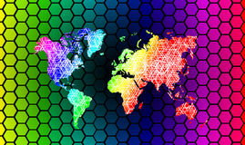 Vector rainbows Map of the world. Royalty Free Stock Photos