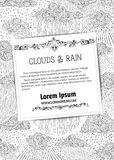 Vector rainfall background. Black outlined clouds and rain on white background. Doodles swirls and drops. There is copy space for text on white square paper Stock Image