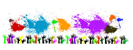 Vector raised hands and splashes of color Stock Photography