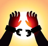 Vector Raised Hands With Broken Chains Stock Images
