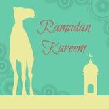 Vector Ramadan greeting with camel, Islamic greeting card for Ra Royalty Free Stock Photo