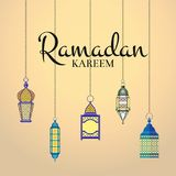 Vector Ramadan illustration with haning lanterns and arabic city silhouette royalty free illustration