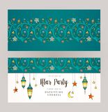 Ramadan Kareem card, Invitation to Iftar party celebration. Vector Ramadan Kareem cards, ornate invitation to Iftar party celebration. Lanterns for Ramadan stock illustration