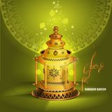 Vector Ramadan kareem vector greetings design with lantern or fanoos mock up with green background. Ramadan kareem vector greetings design with lantern or royalty free illustration