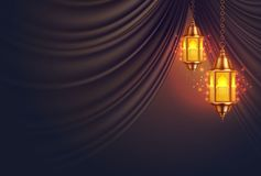 Vector ramadan kareem lantern realistic curtain stock illustration