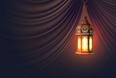 Vector ramadan kareem lantern realistic curtain vector illustration