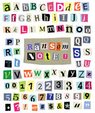 Vector Ransom Note #1- Cut Paper Letters, Numbers, Symbols. Vector cut newspaper and magazine letters, numbers, and symbols. Mixed upper case and lower case and Stock Photo