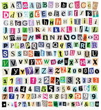 Vector Ransom Note- Cut Paper Letters, Numbers, Symbols Royalty Free Stock Image
