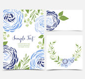 Vector ranunculus flower. Vector illustration of ranunculus flower. Backgrounds with blue flowers. Set of greeting cards Royalty Free Stock Image