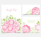 Vector ranunculus flower. Set vector illustration of ranunculus flower. Backgrounds with pink flowers Stock Photography