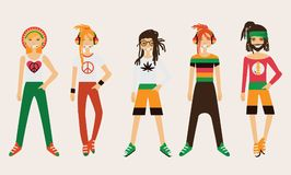 Vector rastafarian man character. Spare body parts in various clothes, different emotions set, rasta dreadlocks of different hairs Royalty Free Stock Photography
