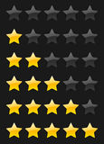 Vector rating stars. Set of vector rating stars on the dark background Royalty Free Stock Photos