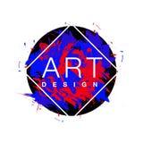 Vector Rautenrahmen mit Pinselhintergrund und Textkunstdesign Rote der abstrakten Abdeckung grafische und blaue Farbe Stockbilder