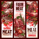 Vector raw fresh farm meat banners for butchery. Farm fresh raw meat banners set for butchery shop or market. Vector design of beef steak or sirloin brisket Stock Image