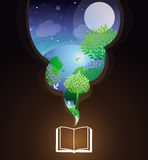Vector reading concept. Book and bright illustration with fairy tale Stock Photography