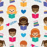 Vector Reading Kids Seamless Pattern stock illustration
