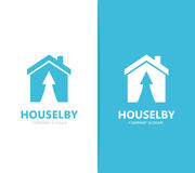 Vector of real estate and arrow up logo combination. House and growth symbol or icon. Unique home and rent logotype Royalty Free Stock Photo