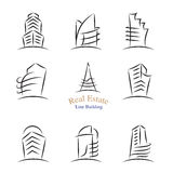Vector : Real estate building icons in line stroke style ,Proper Royalty Free Stock Photo