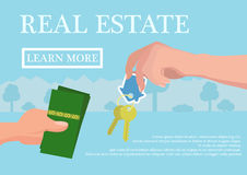 Vector real estate concept in flat style - businessmans hand giving keys and buyer give money, web banner, houses for Royalty Free Stock Photos