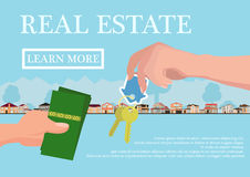 Vector real estate concept in flat style - businessmans hand giving keys and buyer give money, web banner, houses for Stock Photos