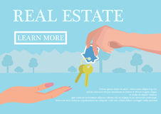 Vector real estate concept in flat style - businessmans hand giving keys to buyer, web banner, houses for sale or rent Stock Photography