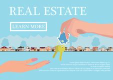 Vector real estate concept in flat style - businessmans hand giving keys to buyer, web banner, houses for sale or rent Royalty Free Stock Photography