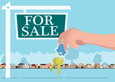Vector real estate concept in flat style - hands giving keys, banner for sale Royalty Free Stock Image