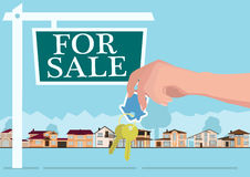Vector real estate concept in flat style - hands giving keys, banner for sale, houses for sale or rent. vector Royalty Free Stock Images