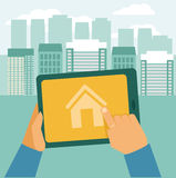 Vector real estate concept. Searching house for rent - icon in flat style Stock Photos