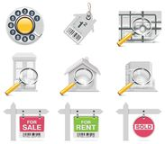 Vector real estate icons. Part 3. Set of the real estate related icons Stock Image