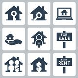Vector real estate icons set royalty free illustration