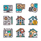 9 vector real estate icons set. Home hunting. Vector colors icons. 9 vector real estate icons set. Buying house. Home hunting. Vector colors icons stock illustration