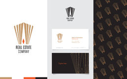 Vector : Real Estate Logo with business name card and corporate pattern in luxury geometric style, Branding concept Royalty Free Stock Image