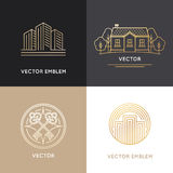 Vector real estate logo design templates. In trendy linear style - houses and buildings Stock Photo
