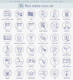 Vector real estate outline icon set. Elegant thin line style design Royalty Free Stock Image