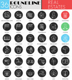 Vector Real estates circle white black icon set. Modern line black icon design for web. Stock Images