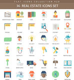 Vector real estates color flat icon set. Elegant style design. Royalty Free Stock Images