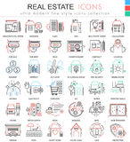 Vector Real estates color line outline icons for apps and web design. Real estates icons. Vector Real estates color line outline icons for apps and web design Royalty Free Stock Photos