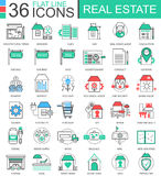 Vector Real estates modern color flat line outline icons for apps and web design. Real estate icons. Stock Photos
